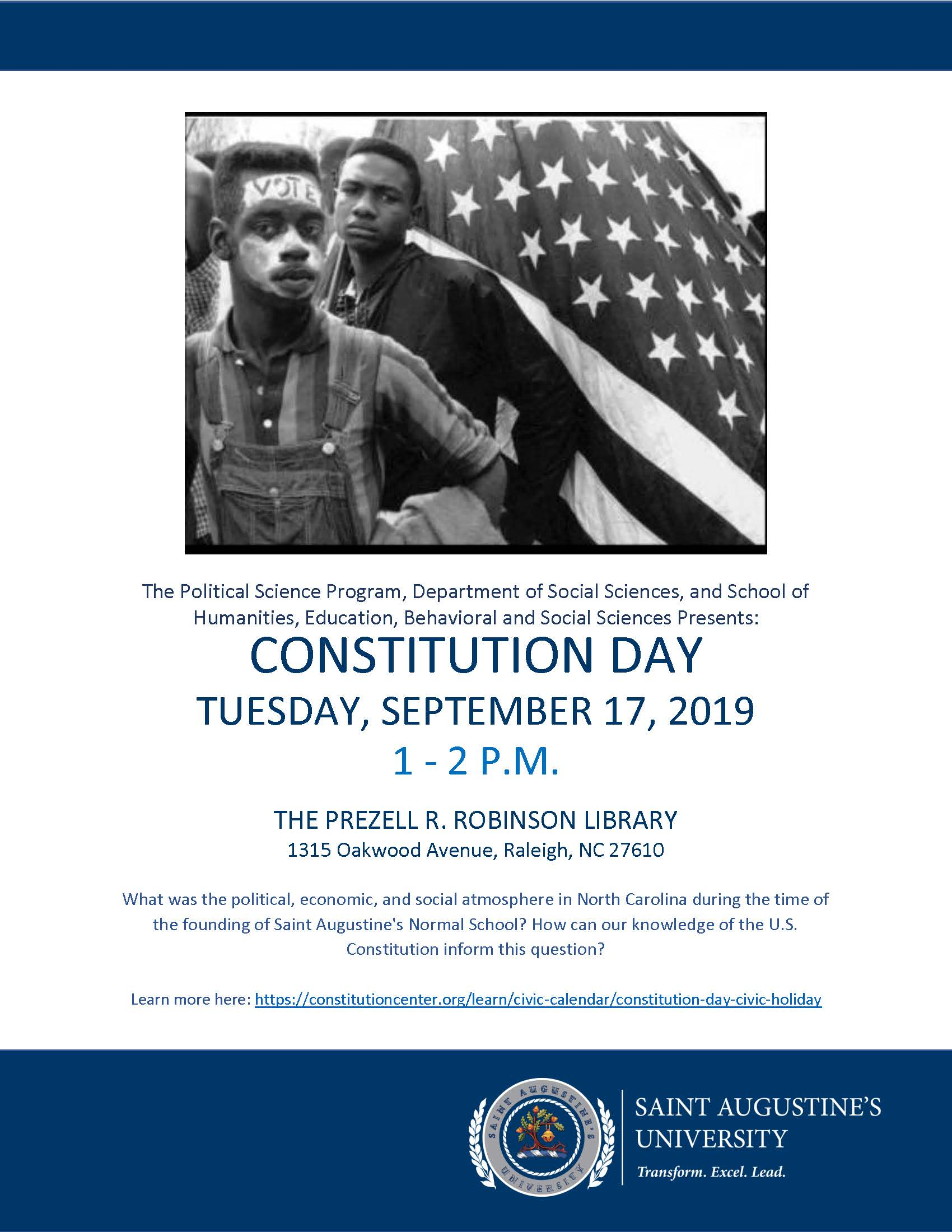 Constitution Day Flyer at Saint Augustine's University