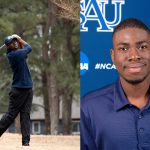 Golf student in mid swing and head shot