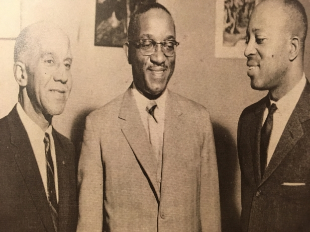 Pictured from left to right: 7th president Dr. James A. Boyer, Dr. John Hope Franklin, 8th president Dr. Prezell R. Robinson